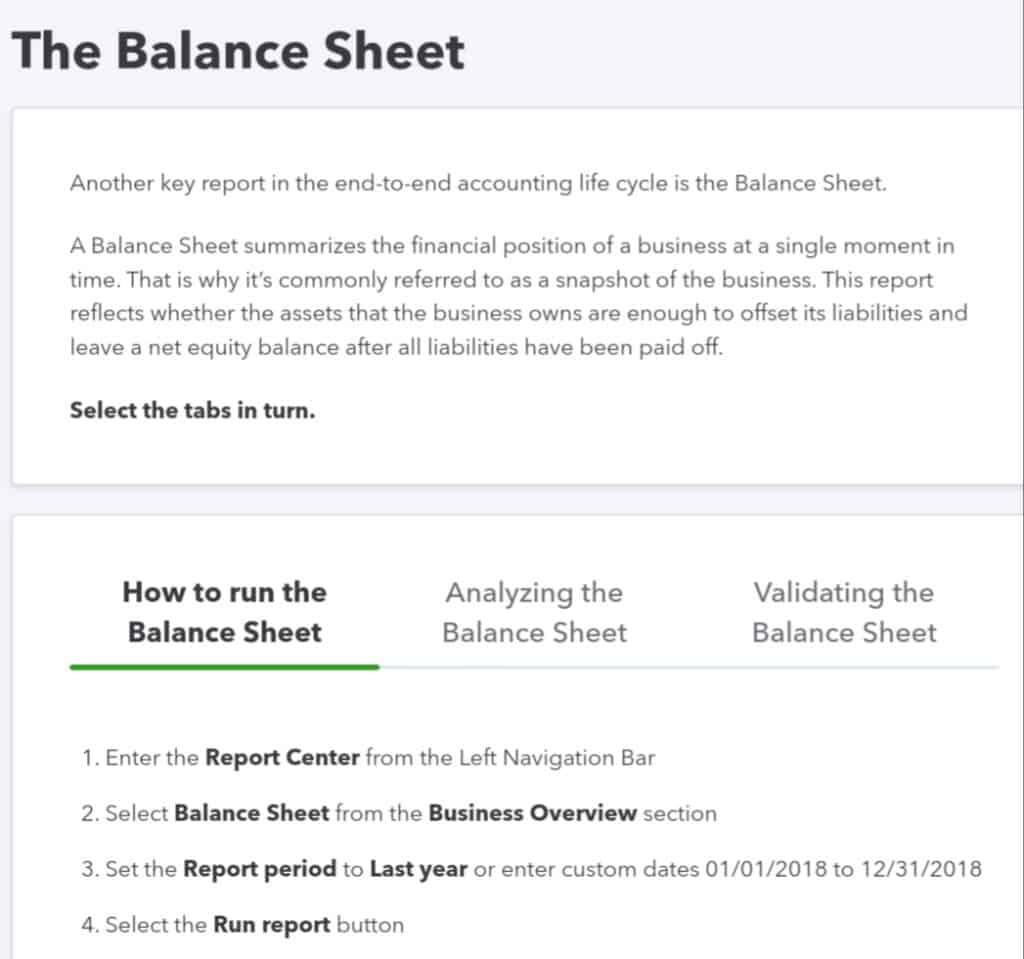 Quickbooks, Reporting and analytics-Balance sheet